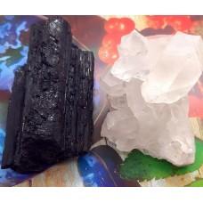 Kristal yin-yang energije črni turmalin s kameno strelo