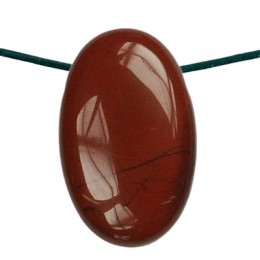 Obesek rdeči jaspis oval z luknjo