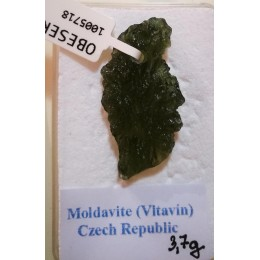 Moldavit, obesek 3,7 gr z luknjo