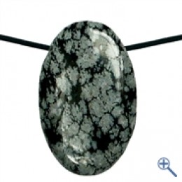 Obesek snežinkasti obsidian oval z luknjo